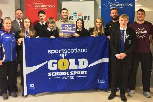 Mearns Academy with the school's Gold Award. Picture:; Aberdeenshire Council