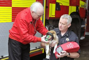 Bishopbriggs Fire Station - firefighter Alan Rutherford and Ron Ewing from Smoky Paws with dog Katie wearing one of the masks.