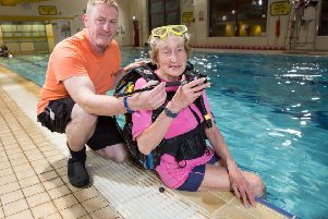 Thistle Divers member Anna Illington who learned to dive after she retired, is 81 now and still diving all over the world. In the pool at Kilsyth Leisure centre with Rob Sewell, Diving Officer at Thistle Divers. 'Picture Robert Perry 24th April 2017''Must credit photo to Robert Perry''www.robertperry.co.uk''NB -This image is not to be distributed without the prior consent of the copyright holder.'in using this image you agree to abide by terms and conditions as stated in this caption.'All monies payable to Robert Perry''(PLEASE DO NOT REMOVE THIS CAPTION)'This image is intended for Editorial use (e.g. news). Any commercial or promotional use requires additional clearance. 'Copyright 2016 All rights protected.'first use only'contact details'Robert Perry     '07702 631 477'robertperryphotos@gmail.com'       'Robert Perry reserves the right to pursue unauthorised use of this image . If you violate my intellectual property you may be liable for  damages, loss of income, and profits you derive from the use of this