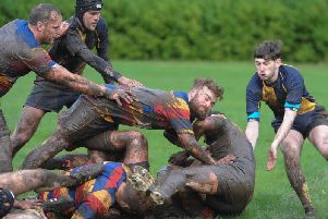 Action from Saturday's clash at a muddy Viewfield (pic by Jamie Forbes)