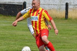 Chris Zok's penalty restored Rossvale's advantage at Girvan (archive pic: HT Photography/@dibsy_)