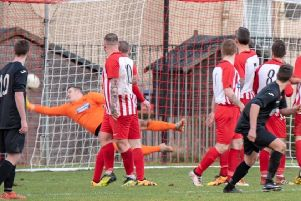 Liam McGonigle's free-kick brings Rossvale to within a goal of Hurlford  (pic by Drew Wilson)