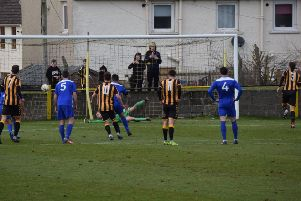 Rob Roy keeper Craig Gordon saves Gordon Pope's penalty at Auchinleck