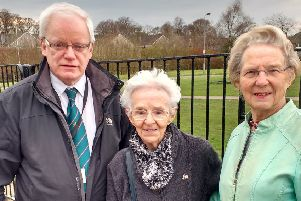 From left, Cllr Gary Pews, Betty Johnston and Jane Garvie