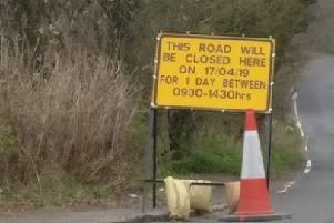 Warning over road closure at Baldernock