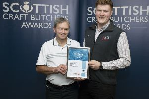Scottish Craft Butchers Pie Awards&..Regional Meeting, Renfrew&17.09.19'Jason Ward from John Scott Meats presents certificates to Milngavie Butchers'Picture by Graeme Hart.'Copyright Perthshire Picture Agency'Tel: 01738 623350  Mobile: 07990 594431