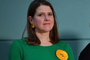 Britain's Liberal Democrat leader Jo Swinson waits on stage for the result at the East Dunbartonshire count centre in Bishopbriggs, north of Glasgow, on December 13, 2019 after votes were counted as part of the UK general election. (Photo by Paul ELLIS / AFP) (Photo by PAUL ELLIS/AFP via Getty Images)