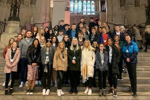 Amy Callaghan, centre , with East Dunbartonshire pupils who she showed around during first day at Westminster