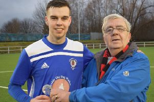 Man of the Match Scott Forrester with John Murphy after Rob Roy's win at Clydebank.