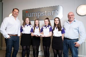 Scott Henderson and Jumptart director Don Galloway are pictured with the Linlithgow Academy team.