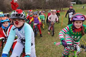 """West Lothian Clarion held their annual """"Santa Cyclo-cross"""" race at Linlithgow Leisure Centre to finish off the year."""