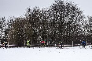 The wintry scene at Linlithgow for last year's West Lothian Clarion cyclo cross event