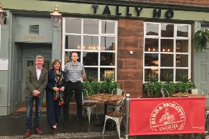 Fiona Hyslop MSP, Tally Ho licensee Trevor Spence and Tom Reilly, one of Star Pubs and Bars Business Development Managers, pictured outside the Winchburgh pub.