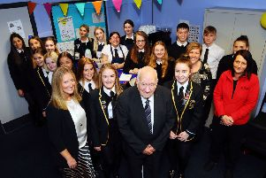 08-10-2019. Picture Michael Gillen. Bo'ness Academy. Pupils opening their new coffee house cafe - Hot Shots - for the community after receiving barista training from Jack Marshall of Tapside in Bo'ness. Pictured: Barista pupils; Catriona Reid, Head Teacher; Jack Marshall, Tapside; Alison Patterson, teaacher and Claire Cameron, Tapside coffee engineer.