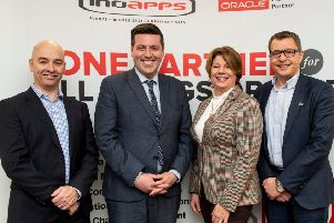 Pic shows: Jamie Hepburn MSP announcing 25 CodeClan recruits at Inoapps, Linlithgow.'Pic l to r: Dermot Murray, VP of Ideation. Jamie Hepburn MSP. Melinda Matthews , CEO CoeClan. Philip Burgess M Inoapps UK.' 'Credit: Ian Jacobs