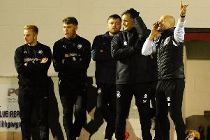 Linlithgow Rose gaffer Brown Ferguson (first right) barks instructions to his troops on Friday night (Pic by Michael Gillen)
