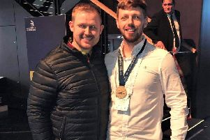 Raymond Stirling (right) from Bo'ness won a gold medal in plastering at this year's WorldSkills UK LIVE national final. He is pictured with Robbie Blake, a lecturer in construction at City of Glasgow College, who trained Raymond for the competition.