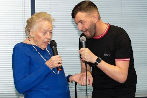 Margaret  with her singing partner and carer�Jamie Morley.�Their single is raising money for Alzheimer's Society and Dementia UK. Download the�single on iTunes, Amazon and Google Play.