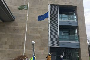 The EU flag being lowered outside West Lothian Council's HQ.