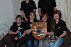 The winning Youth team: Back Row: Emily Esson (Assistant Director), Peter Esson (Director) 'Front row: Katy Ironside,  Heather Stewart, Sophie Angus, Heather Smith.