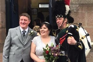 The happy couple: RNLI press officer Susan Leiper and her husband Stuart were married on Saturday