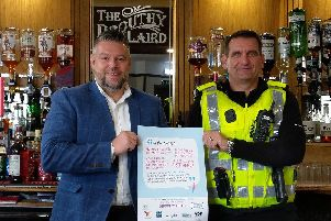 Laird Parker, landlord of The Drouthy Laird in Inverurie, launched the scheme with Police Scotland Licensing Constable Kevin Fyfe