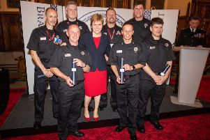 The crew receiving their award from First Minister Nicola Sturgeon. Picture: Kenny Smith Photography