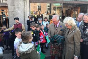 Mill O' Forest pupils meet the Duke and Duchess of Rothesay during their visit to Stonehaven