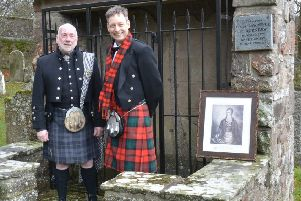 Dave Ramsay and Liam Kerr at the old kirkyard at Glenbervie