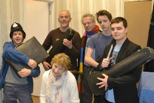 "Pathhead Players rehearsing their production of ""The Ladykillers"""