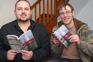 Local men Ross Bathgate (left) and Mark Hallworth have released their first book Darkview Psychosis.