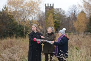 Members of Bonnyrigg and Lasswade Community Council ' Rhona Matthews, Marnie Crawford and Ruth Scott ' check the area earmarked for housing at Dalhousie South.