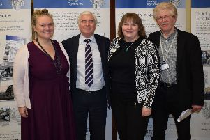 Penicuik Heritage Regeneration Project Launch event. L-R: Councillors Debbi McCall and Russell Imrie; Donella Steel, Director of Finance at Historic Environment Scotland and Rod Lugg, Project Officer.