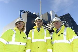 Environment leaders from the City of Edinburgh and Midlothian Councils, including Cllr Imrie (right) at FCC Environmental plant in Millerhill.