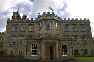 The exterior and front entrance of Newbattle Abbey, Dalkeith, Scotland's only residential adult learning college.