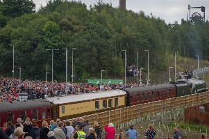 Sep 09 2015;  Large crowds gather at Newtongrange as the Queen opens the Borders Railway. credit steven scott taylor / J P License