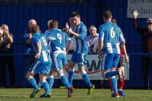 Penicuik Athletic V Musselburgh Athletic Conference A 20/04/19 Scott McCrory-Irving scores for Penicuik to make it 1-1