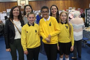 Current P7 pupils and former pupils at the Hawthornden Primary School 50th anniversary celebration.