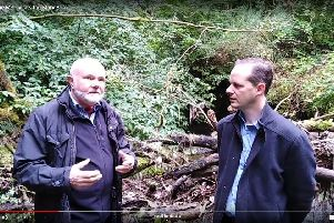 Local MSP Colin Beattie (left) and Stuart Forbes, volunteer co-ordinator, during a site visit at the Mary Burn.