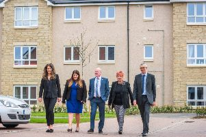 (left to right) Abby Kelman, Land Negotiator for Taylor Wimpey East Scotland, Pauline Mills, Land and Planning Director for Taylor Wimpey East Scotland, Kevin Stewart, Minister for Local Government, Housing and Planning, Christine Grahame, MSP and Andrew Noble, Chief Executive of Melville Housing Association.Picture Copyright Chris Watt