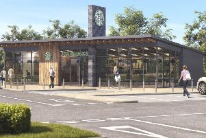An artist's impression of the planned Starbucks at Hardengreen, Dalkeith.