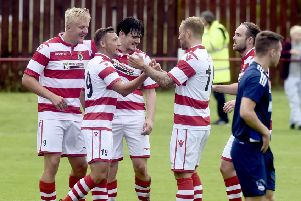Bonnyrigg Rose v Vale of Leithan  George Hunter scores goal (picture: Lisa Ferguson)