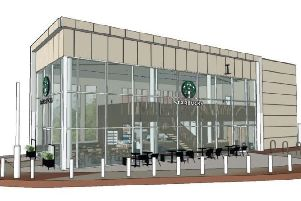 An artist's impression of the planned Starbucks at Straiton.