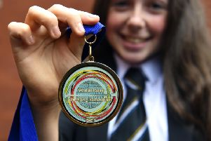 Pic Lisa Ferguson 09/09/2019'''15yr old Ruby Quinn from Penicuik with her medal.