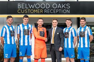 **Pics free to use** 'pictured Belwood Oaks Sales Advisor Blair Dickson with players John williams, Darrell young, Kevin swain, Sam jones and Aaron somerville'CALA Homes (East) has made a continued commitment to support Penicuik Athletic football team by sponsoring them for 10 years in a row. CALA would like professional photography to mark the occasion, taken at the new Belwood Oaks development in Penicuik.