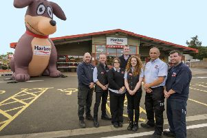 Staff at Harbro Dalkeith, Jemma Lawrence  is third from the right. Photo by Phil Wilkinson.