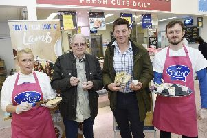 Pic - Greg Macvean - L-R Scotch Lamb ambassador Sharon Hogarth, customer Paul Masterton, farm manager Peter Eccles and Scotch Lamb ambassador Tom Crabbe.