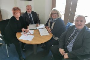 Christine Grahame MSP (left) meeting with (L-R) Ged McEaeany, Anne Pinkman and Philip Dunion of Track2Train.