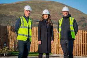 David Loney, Site Manager (Taylor Wimpey Bilston Affordable), Abby Kelman, Land Manager for Taylor Wimpey East Scotland and Neil Edgar, Development Manager for Melville. Picture Copyright Chris Watt