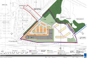 The site plan for a new retail park and homes off Dalhousie Road, Dalkeith, lodged by Hardengreen Estates.